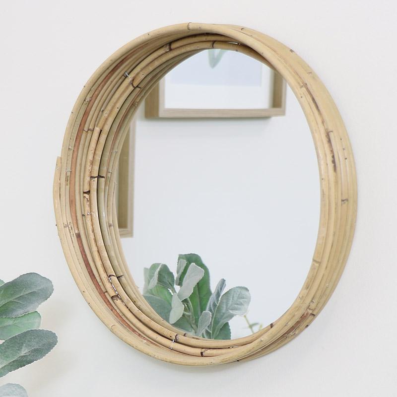 Round Rattan Wooden Wall Mirror 29cm x 29cm