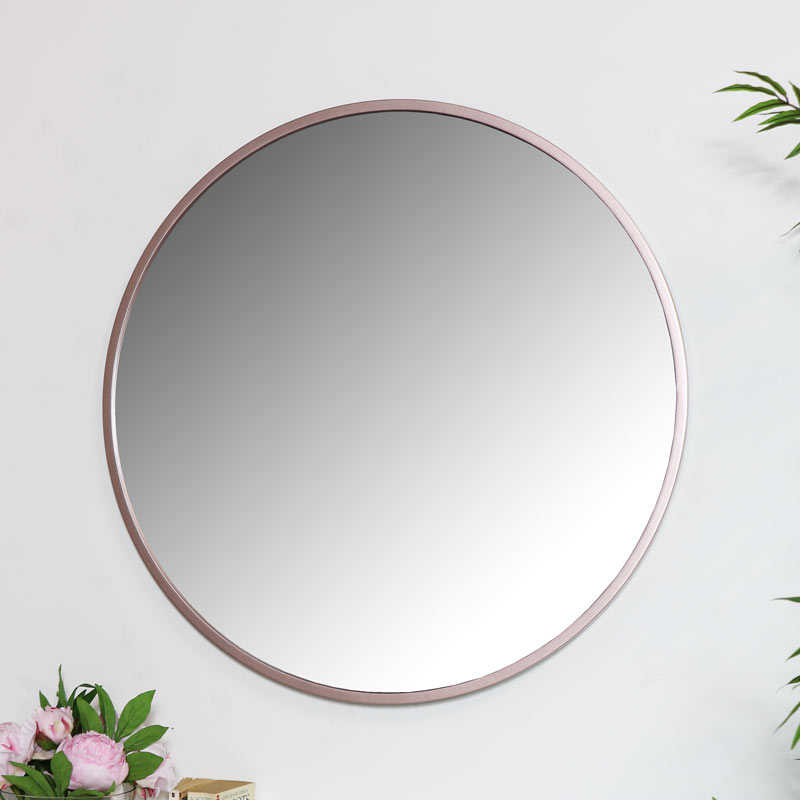 Round Rose Gold Pink Wall Mirror Large Thin Framed Copper Modern Scandi Decor Ebay