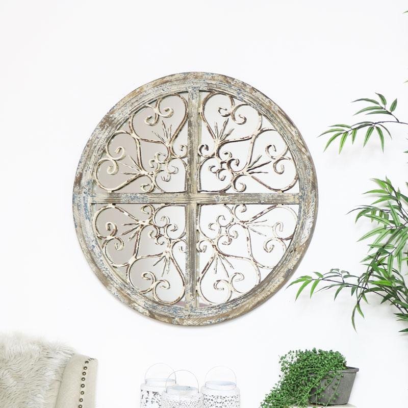 Round Rustic Ornate Mirror 72cm x 72cm