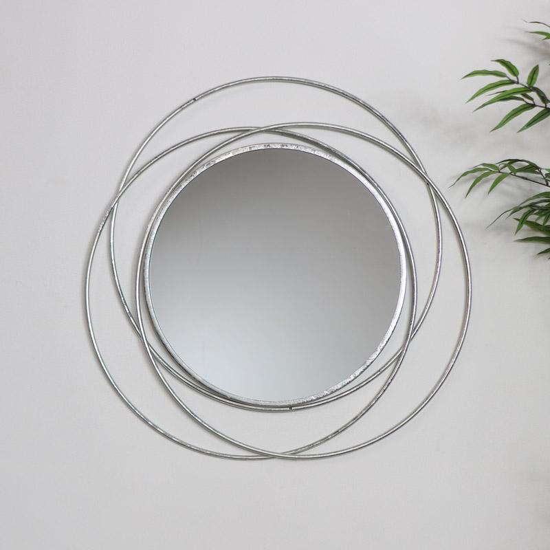 Round Silver Swirl Mirror 68cm x 68cm