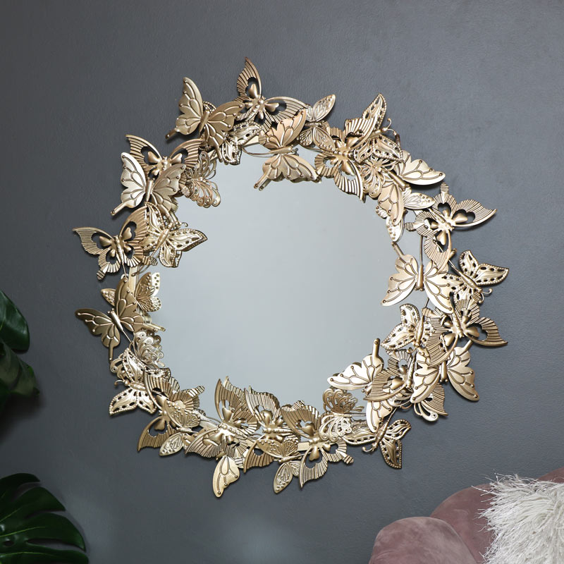Round Vintage Gold Butterfly Wall Mirror 66cm x 66cm