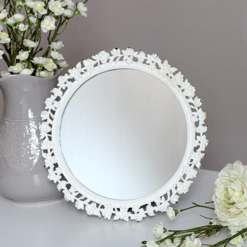 Round White Rose Vanity Mirror