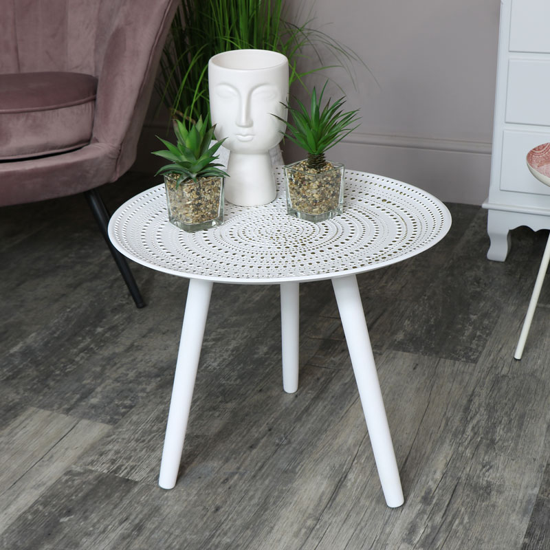 check out b2ad4 5cedf Details about Round white side occasional accent table boho chic living  room furniture home