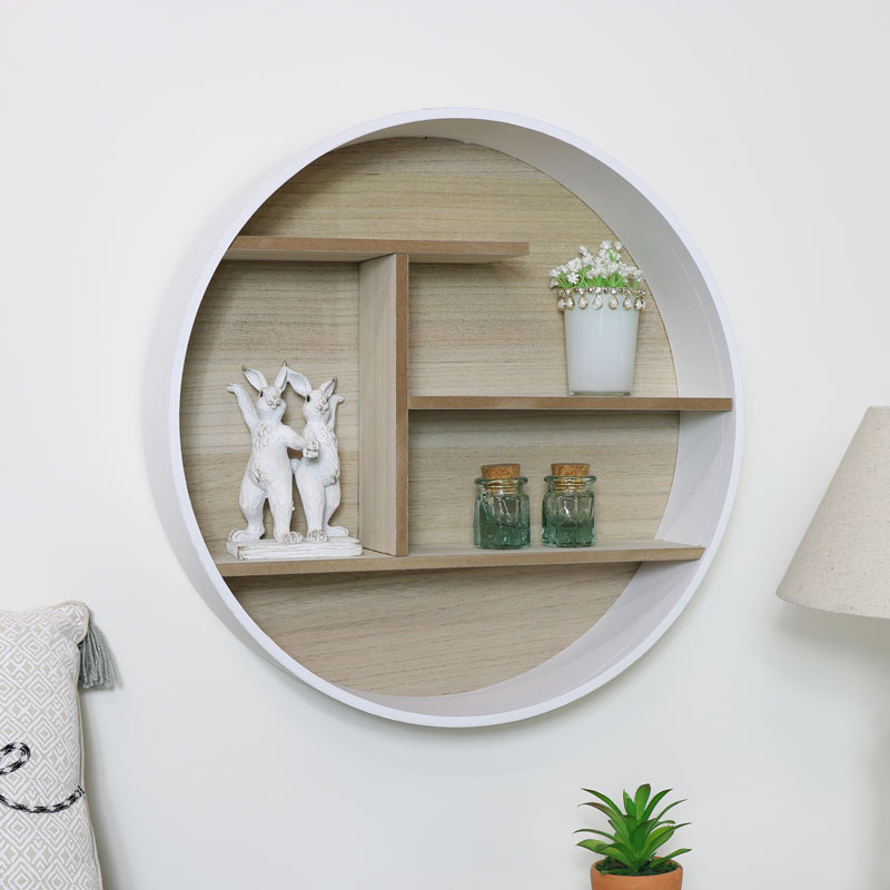 Details About White Rustic Natural Wall Mounted Shelving Unit Round Shelf  Storage Display