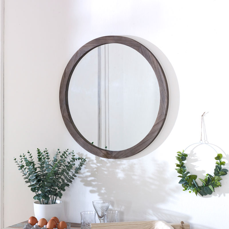 Round Wooden Wall Mirror 60cm x 60cm