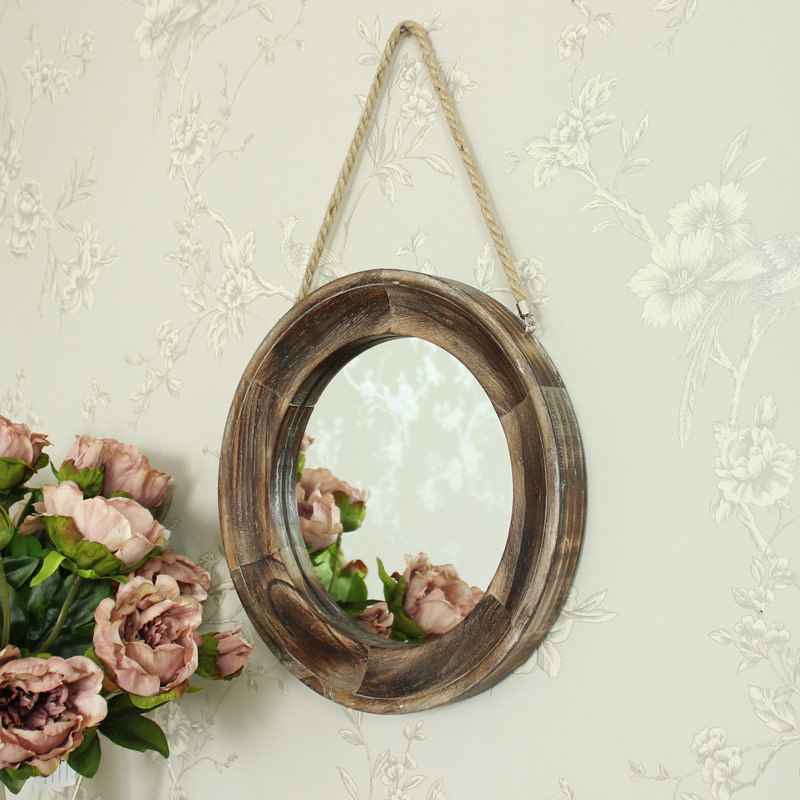 Small Round Wooden Wall Mirror 32cm x 32cm