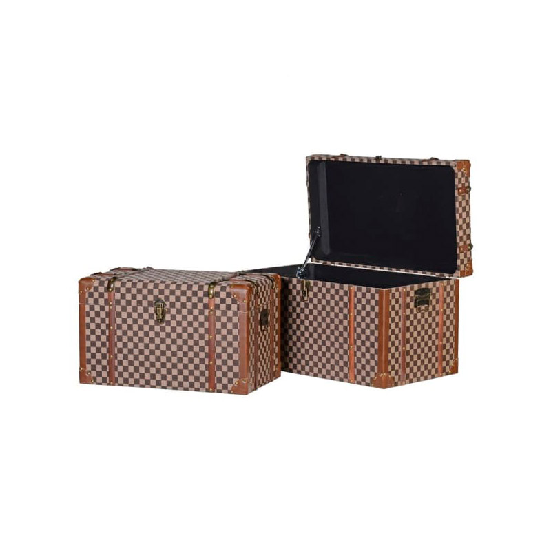 Set of 2 Checked Storage Trunks