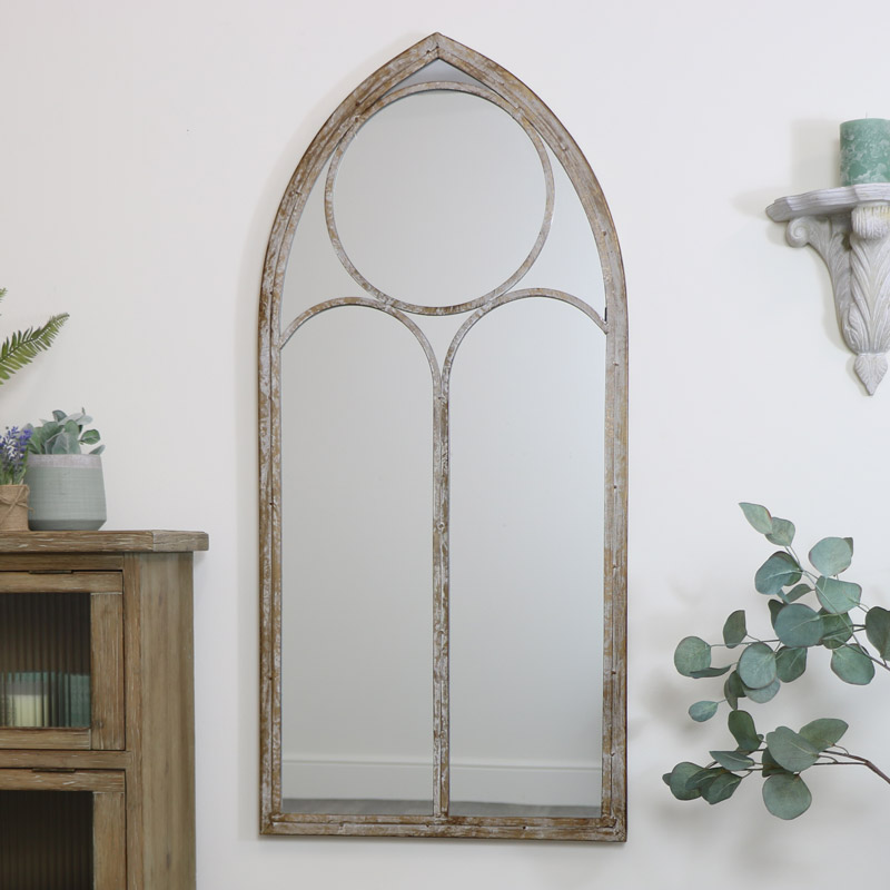 Rustic Arch Window Mirror 56cm x 122cm