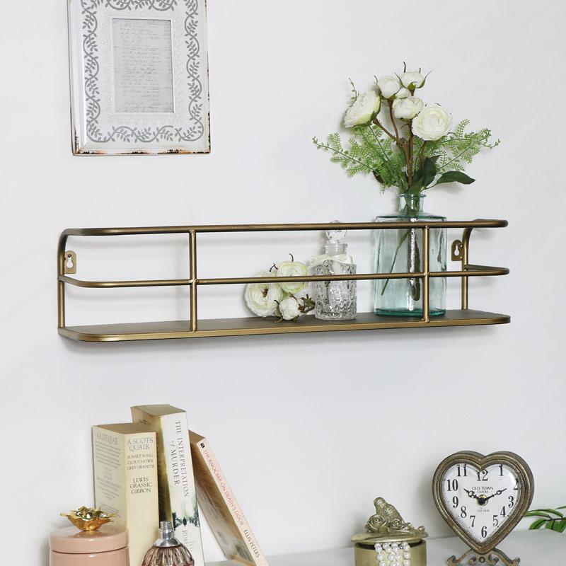 Superieur Brushed Gold Metal Wall Shelf Display Storage Shelving Industrial Kitchen  Decor