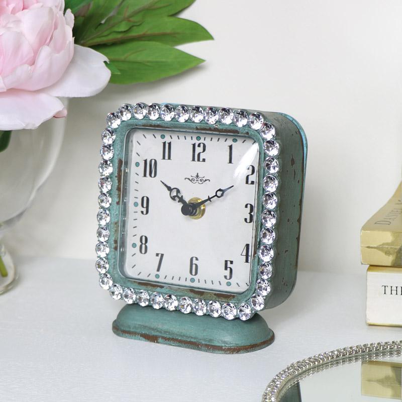Rustic Green Jewelled Mantle Clock