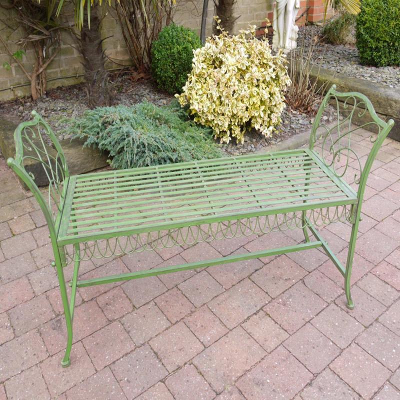 Rustic Green Metal Garden Bench