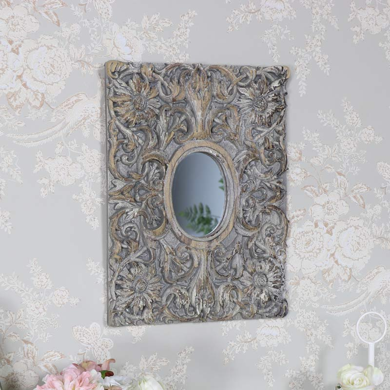 Rustic Grey Decorative Wall Mirror