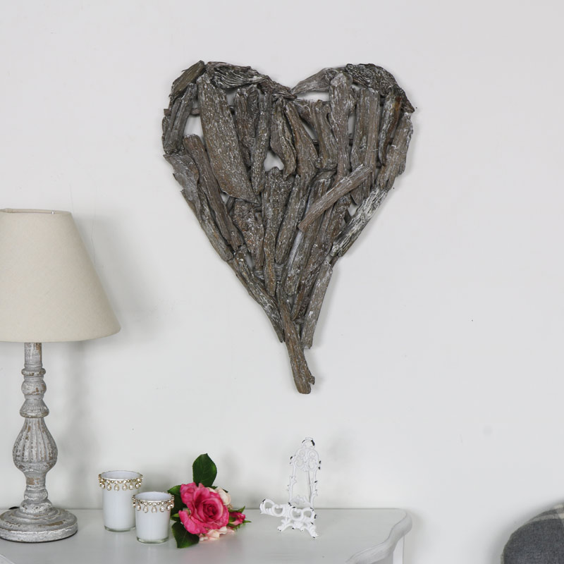 Rustic Grey Driftwood Hanging Heart