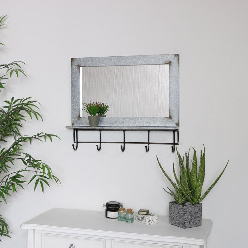 Rustic Grey Metal Wall Mirror with Hooks & Shelf 60cm x 52cm