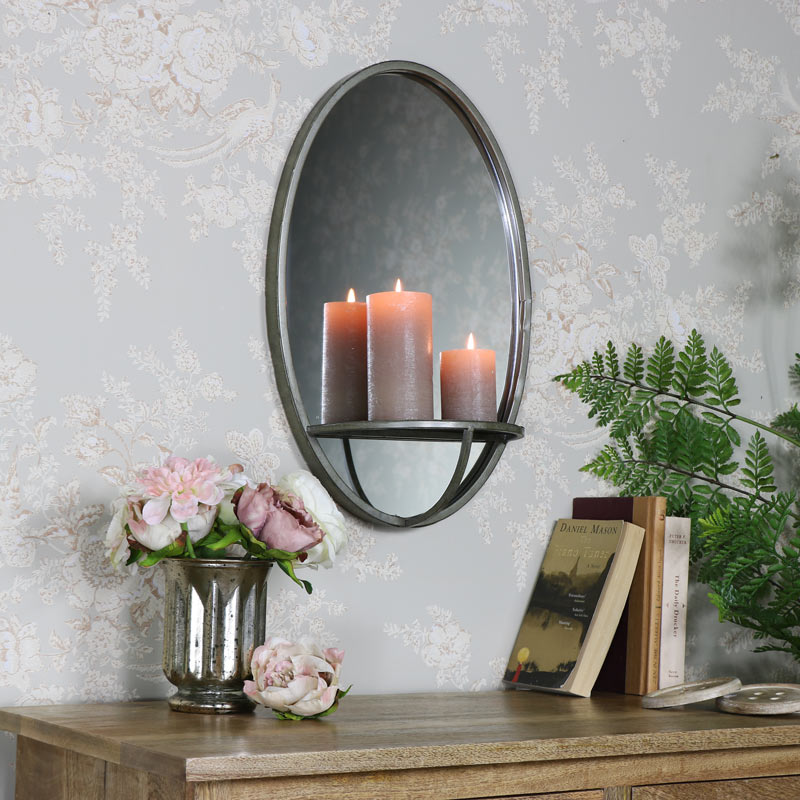 Rustic Grey Oval Wall Mirror with Shelf