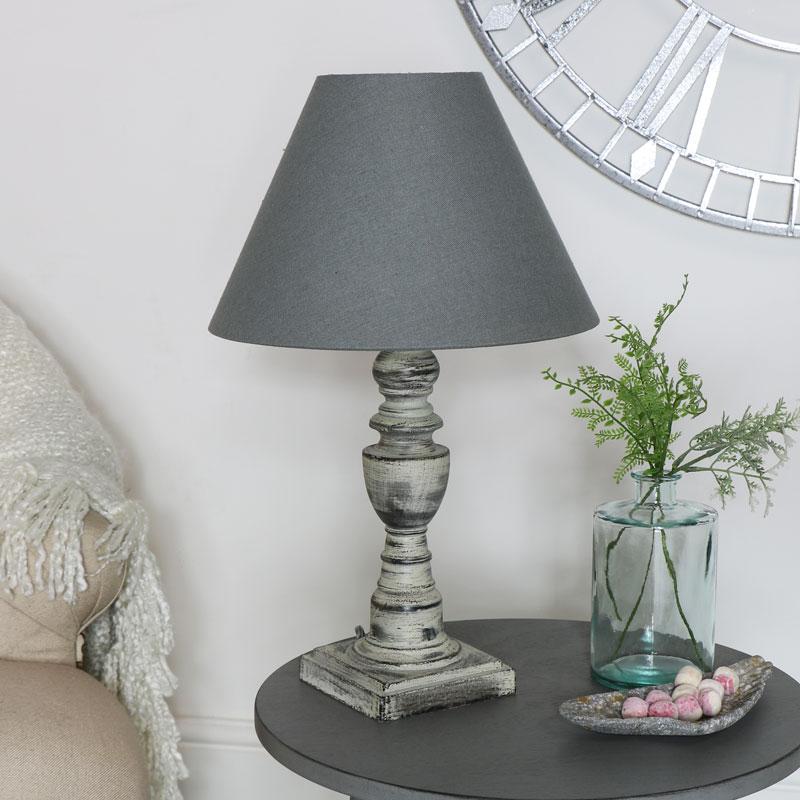 Rustic Grey Table Lamp