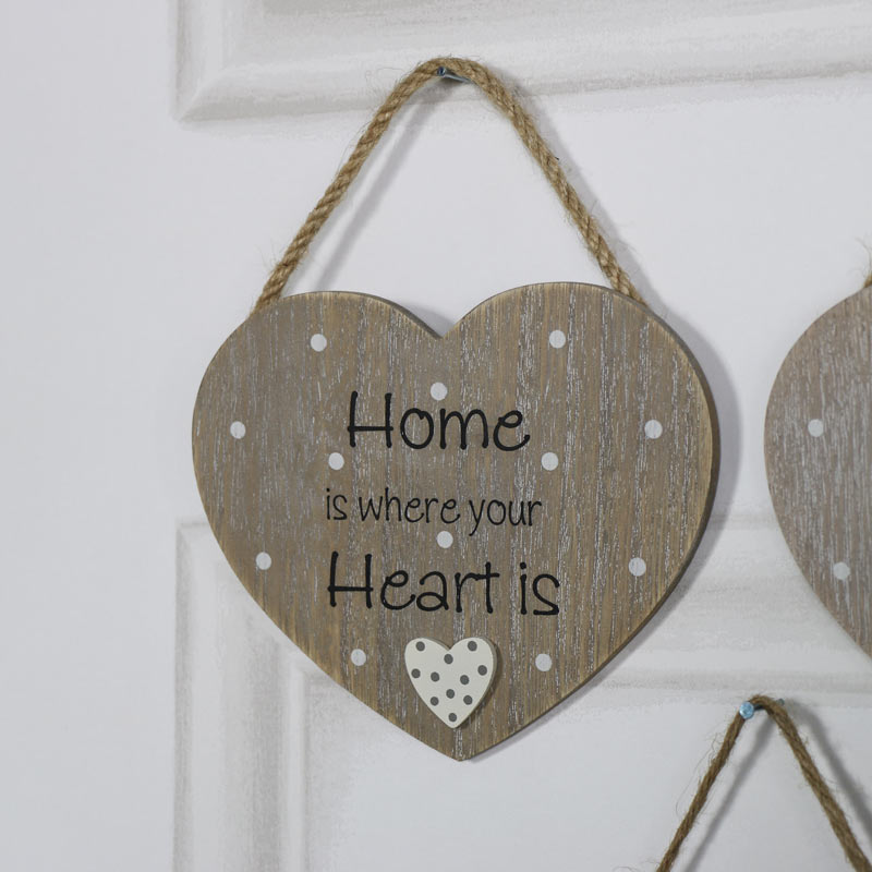 """Rustic Hanging Heart Plaque """"Home is Where Your Heart Is"""""""
