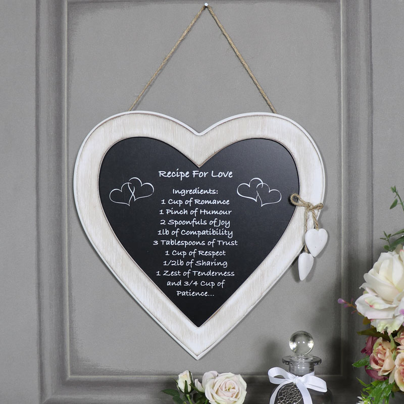 """Rustic Hanging Heart Plaque """"Recipe for Love"""""""