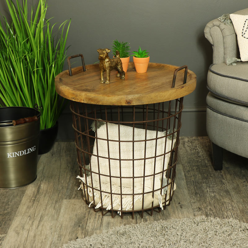 Rustic Metal Industrial Basket Storage Occasional Table