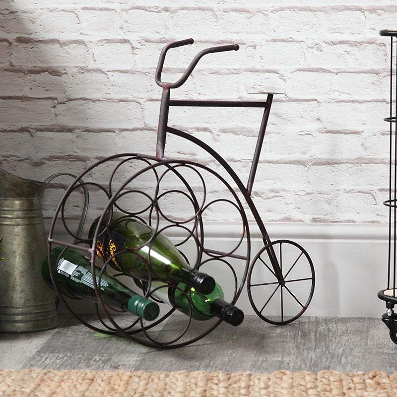 Rustic Metal Penny Farthing Wine Rack