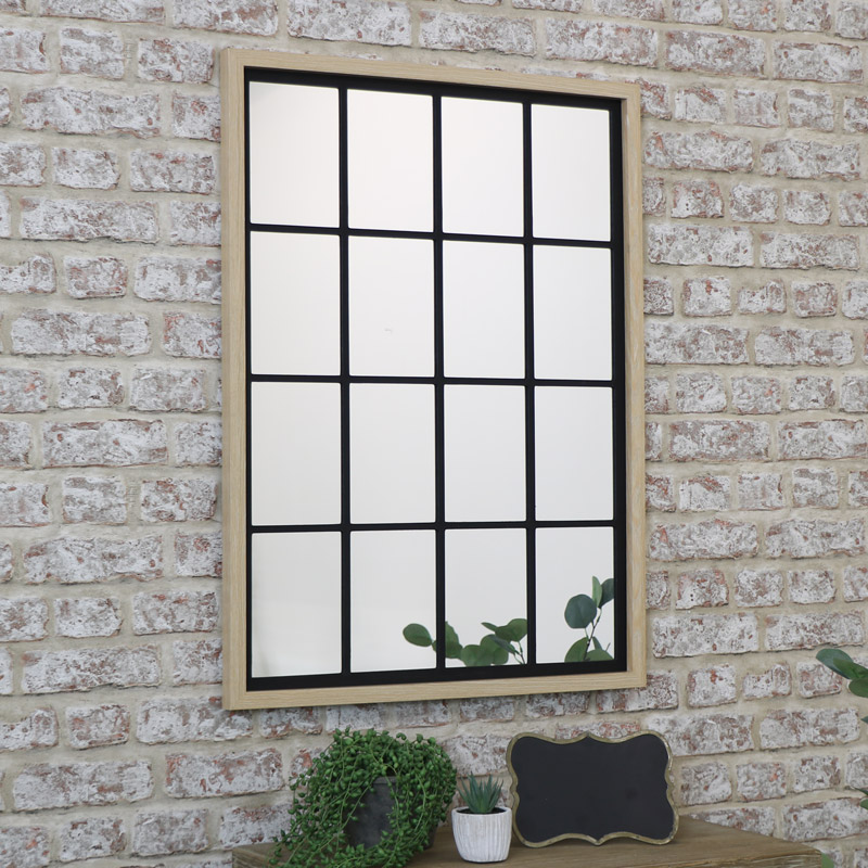 Rustic Rectangle Window Mirror 80cm X 60cm