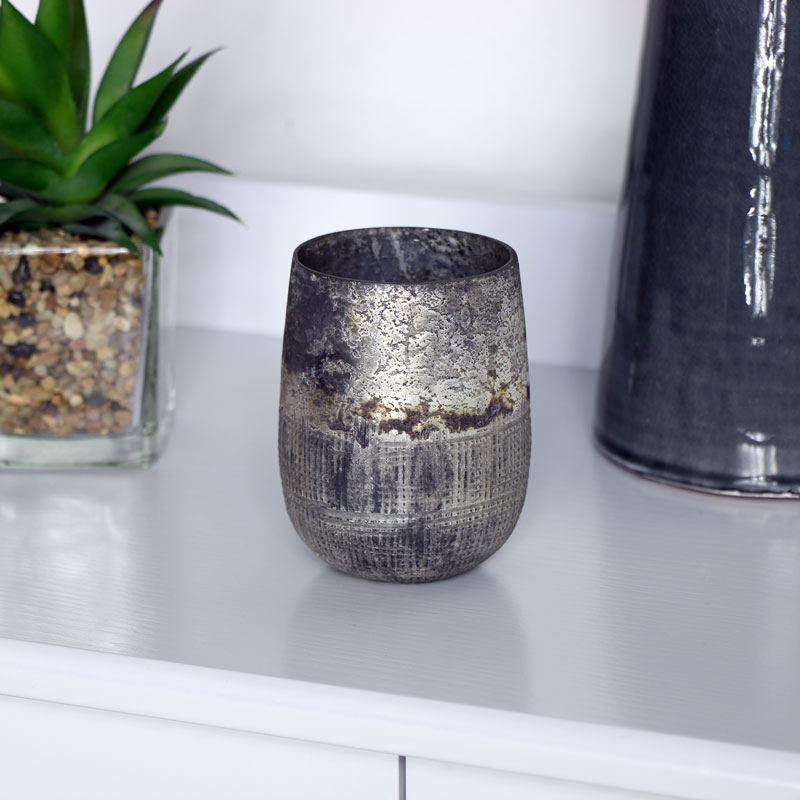 Rustic Silver Glass Tealight Holder
