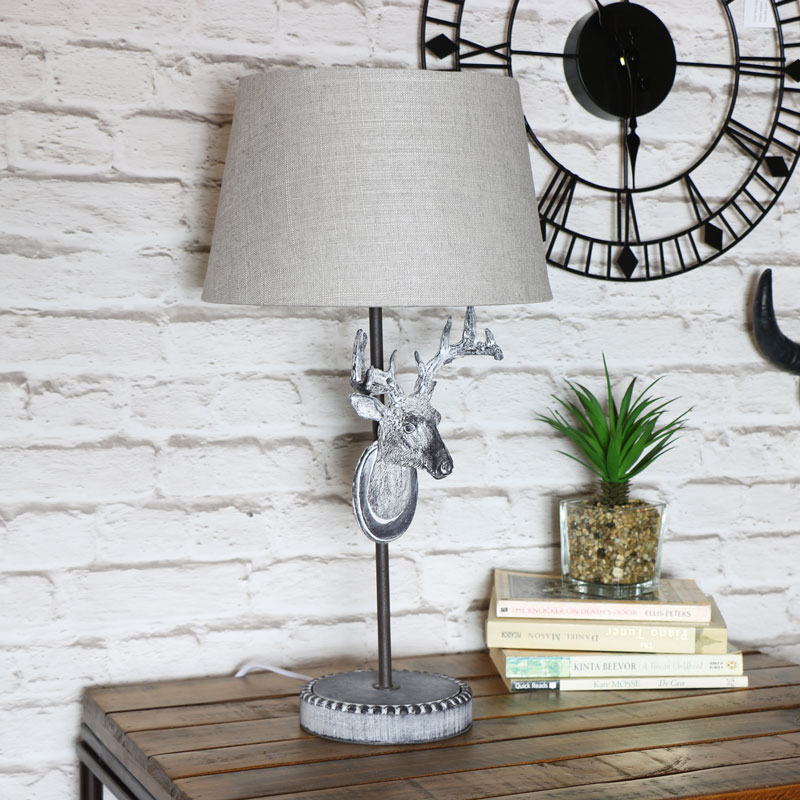 Rustic Stag Head Bedside Table Lamp