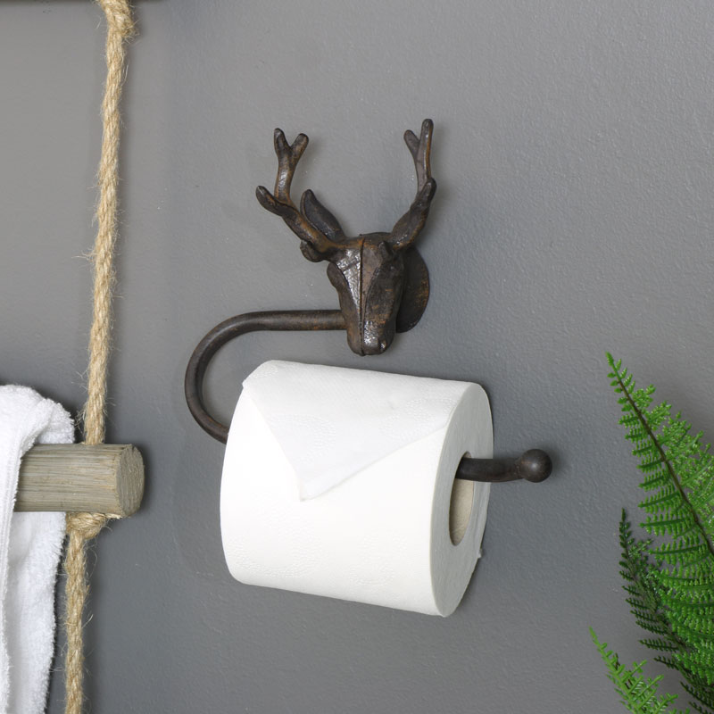 Stag Head Toilet Roll Holder /& Towel Rail Set Vintage Style Rustic Industrial
