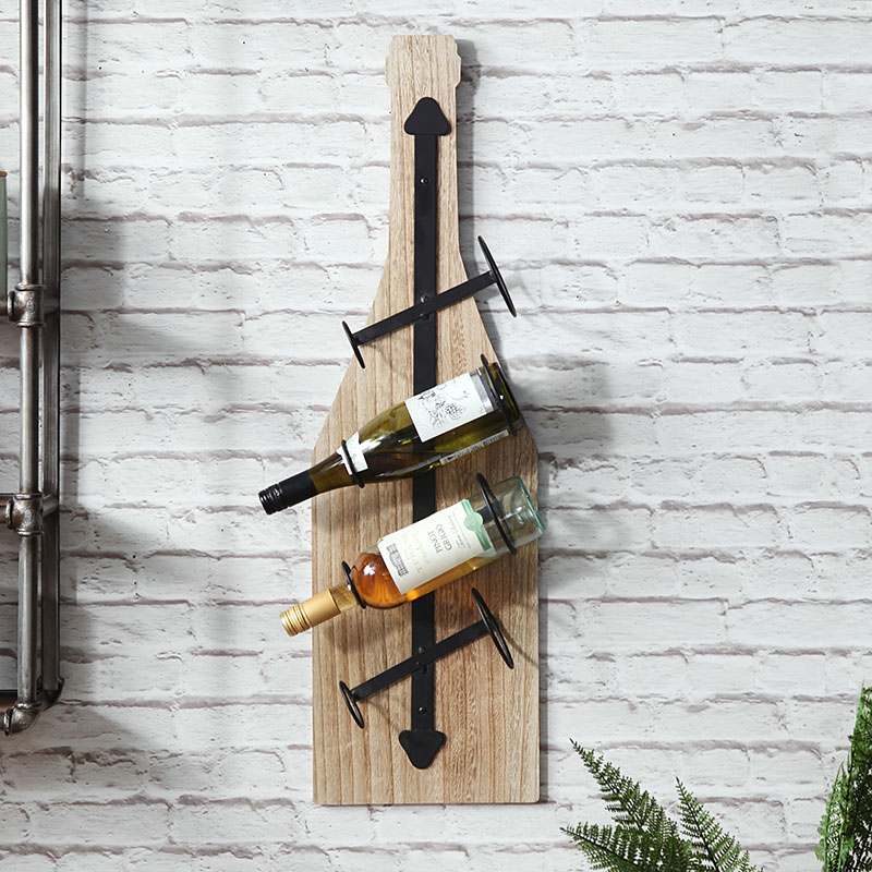 Rustic Wall Mounted Bottle Shaped Wine Rack