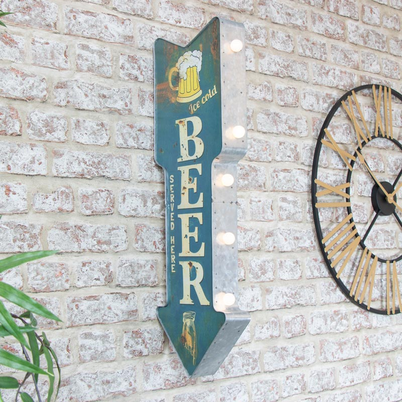 Rustic Wall Mounted Light Up Beer Sign