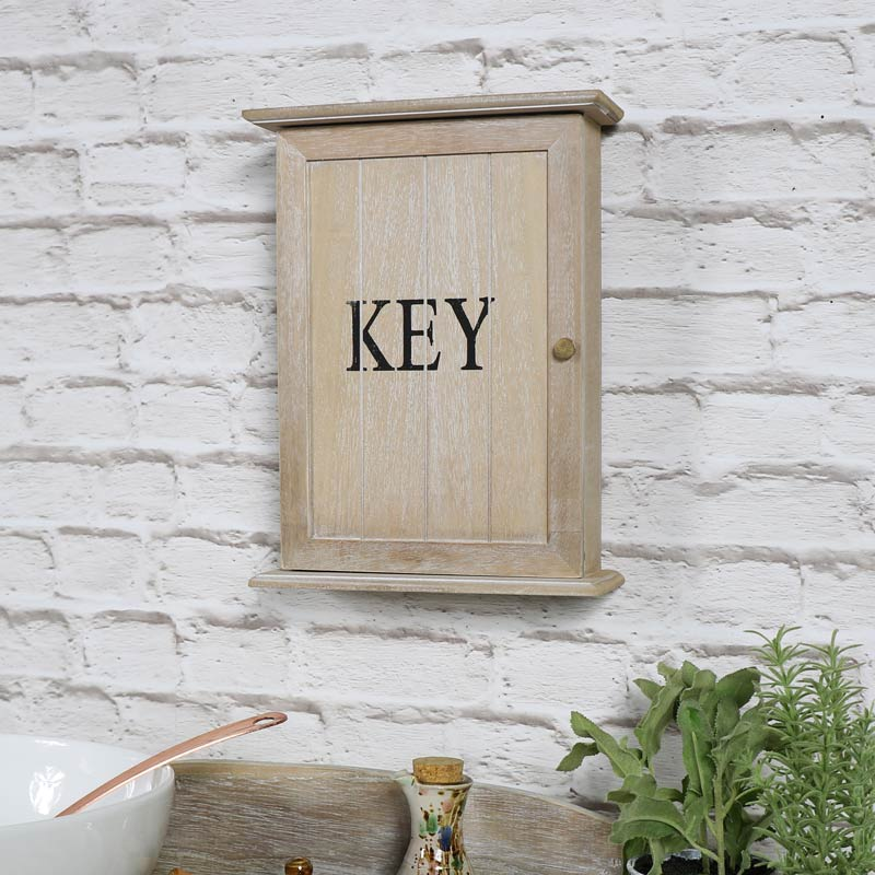 Rustic wooden key hook storage cabinet cupboard wall