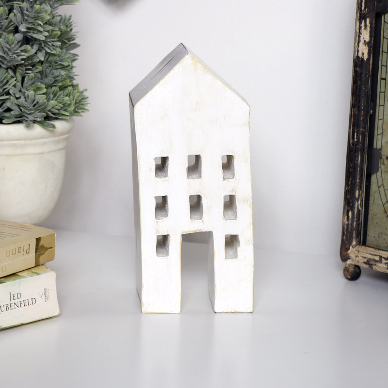 Rustic White 3 Storey House Ornament