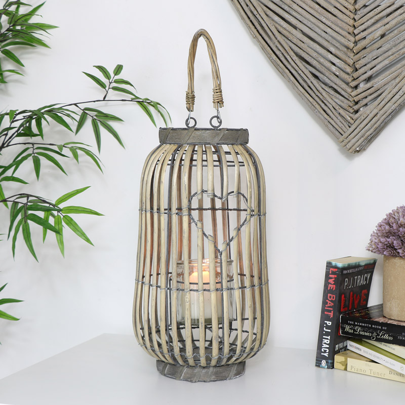 Rustic Wicker Heart Candle Lantern