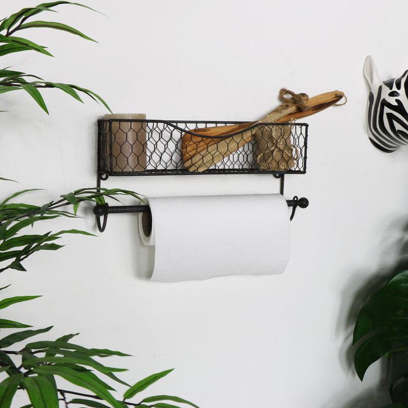 Rustic Wire Shelf with Towel Rail