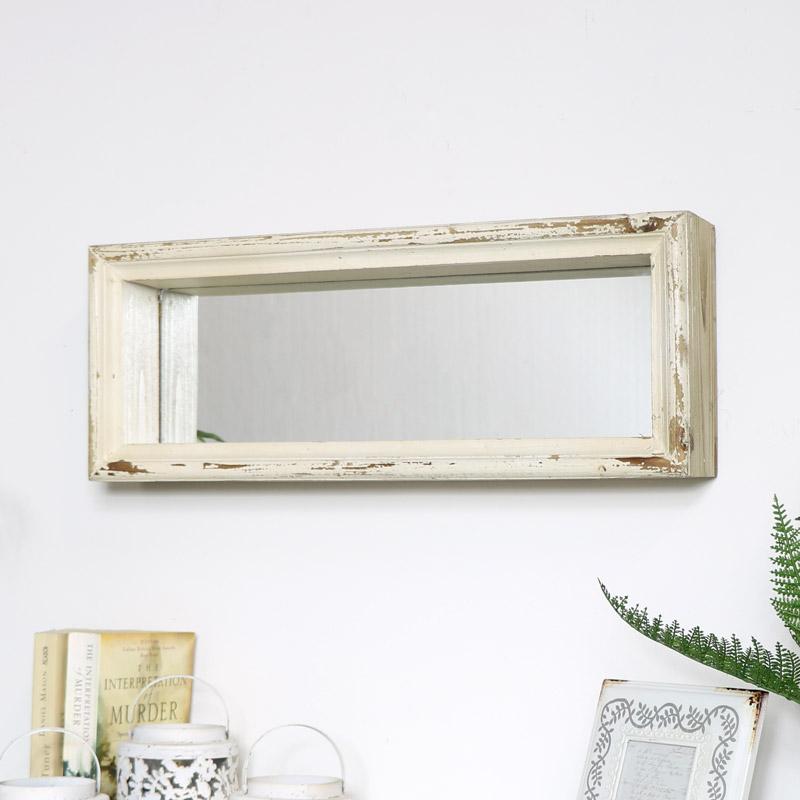 Rustic Wood Framed Wall Mirror 22cm x 56cm