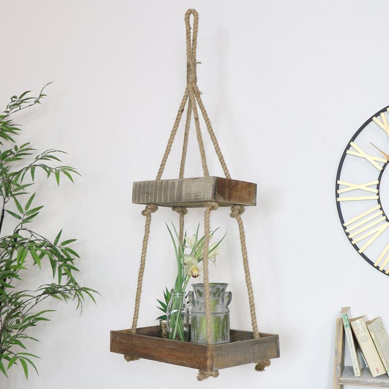 Rustic Wooden Hanging Shelf