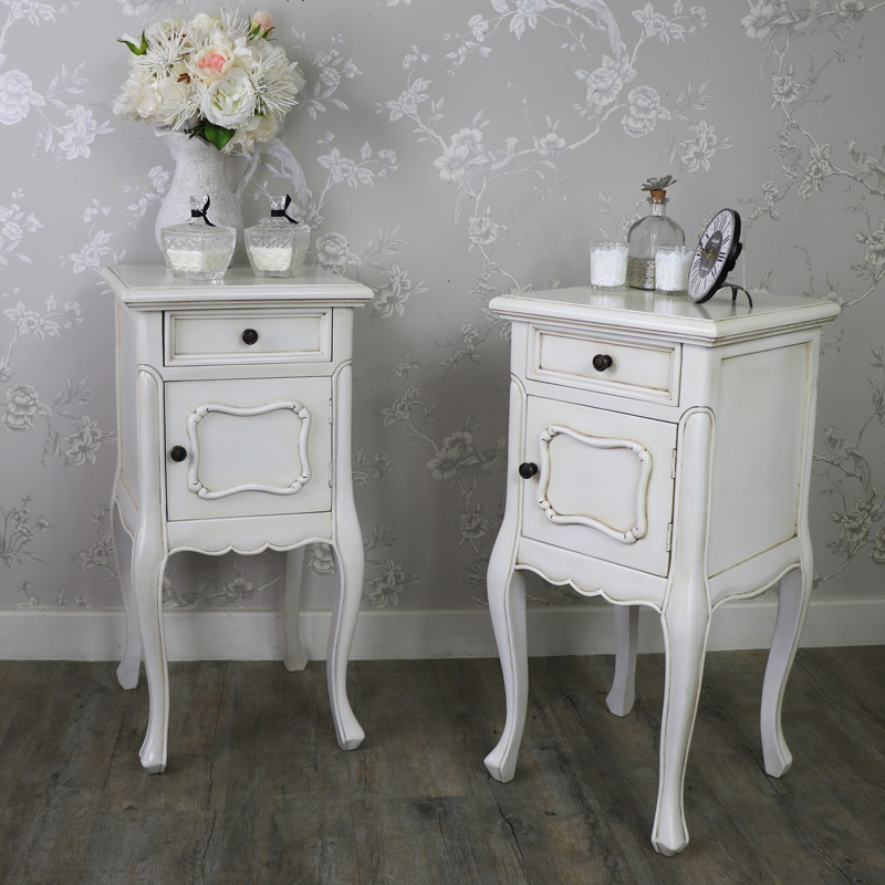 Pair Of Cream Bedside Lamp Table Cupboard Drawer French Bedroom Furniture Home Ebay