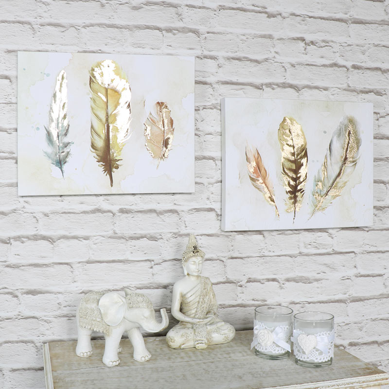 Set of 2 feather watercolour painting canvas wall prints for Painting feathers on canvas