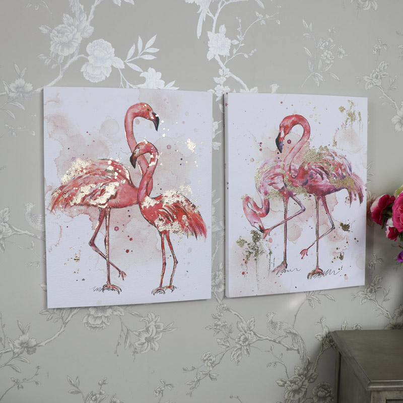 Set Of 2 Pink Flamingo Watercolour Painting Canvas Wall