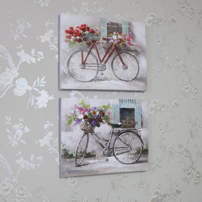 pair of bicycle floral flower canvas prints set of 2. Black Bedroom Furniture Sets. Home Design Ideas