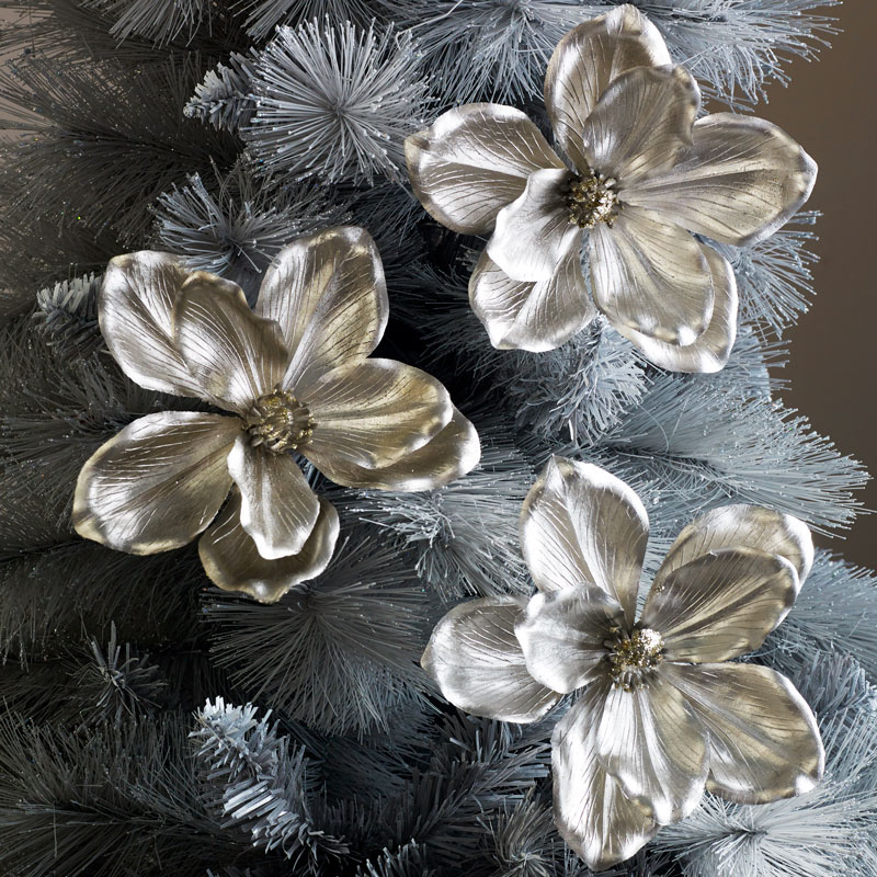 Set of 3 Champagne Flower Christmas Decorations