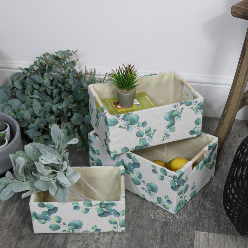 Set of 3 Eucalyptus Storage Boxes