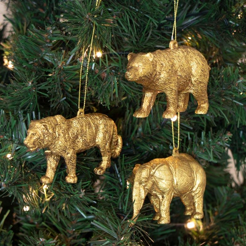 Set Of 3 Gold Animal Baubles