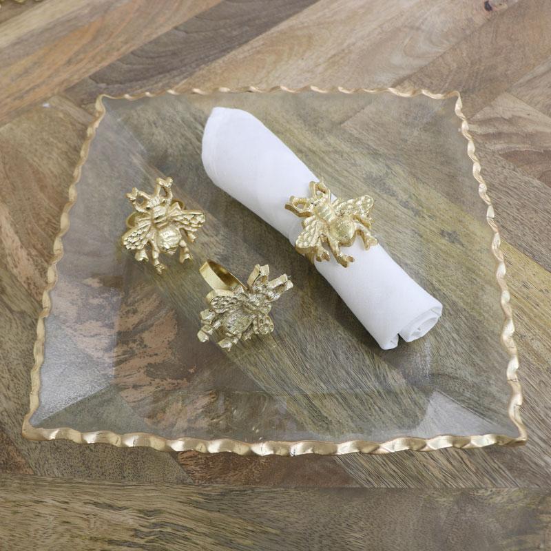 Set of 3 Gold Bumblebee Napkin Rings