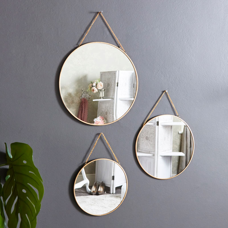 set of 3 gold framed circle mirrors melody maison. Black Bedroom Furniture Sets. Home Design Ideas