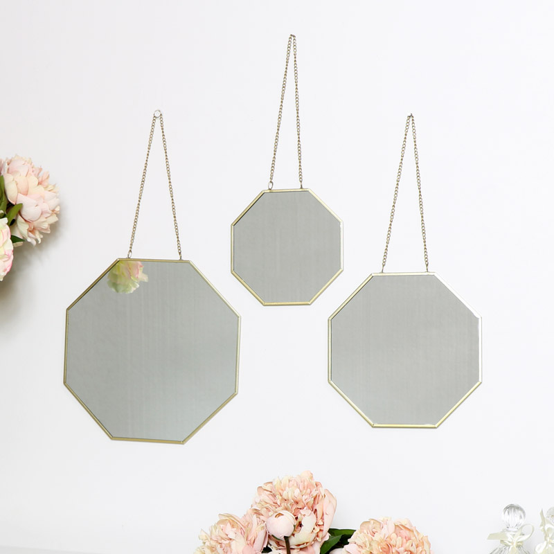 Set of 3 Gold Mirrors