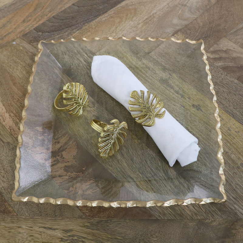 Set of 3 Gold Monstera Leaf Napkin Rings