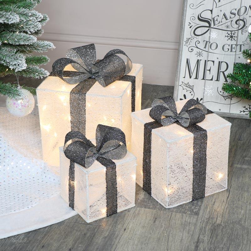 Set Of 3 Grey & White LED Christmas Gifts
