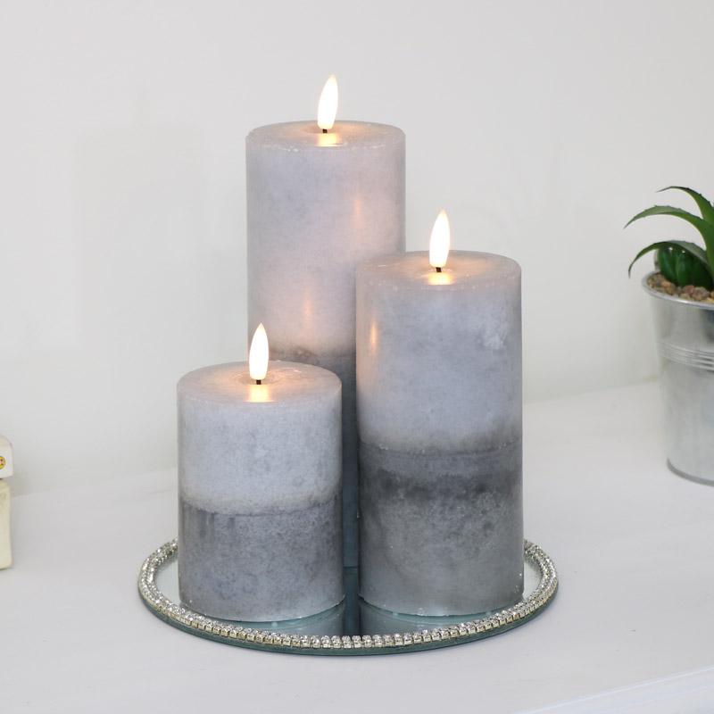 Set of 3 LED Grey Candles