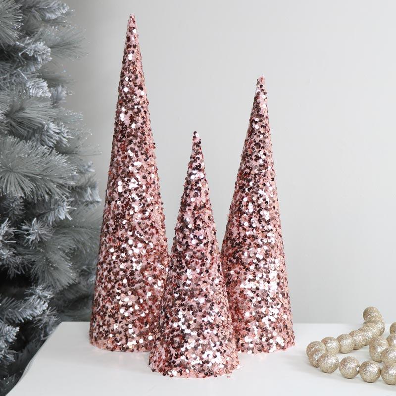Set of 3 Pink Sequin Christmas Cones
